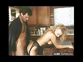 Lewd blonde chick rides cock at kitchen
