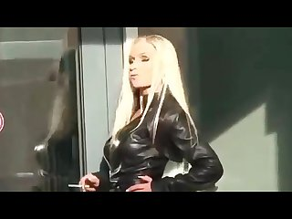 Monique vegas smoking in black leather
