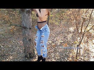 Horny teen loves to play with her tight ass in public park nicky mist 4k