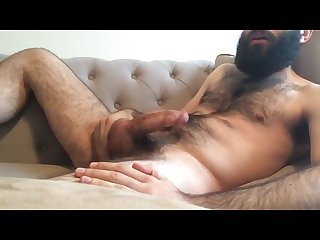 Hairy daddy jerk off cum