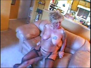 Filthy horny granny housewife makes the gardener pleasure her