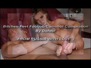 Bitches feet footjob cumshot compilation