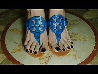 Taiwan feetgoddess hight heel thongs sandal blue nails