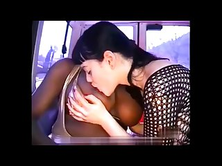 Interracial lesbian sucking big boobs 1