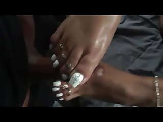 Ebony footjob white toenails