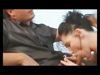 Brunette secretary fucked while smoking