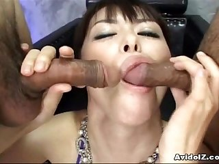 Japanese babe sucking 10 dicks uncensored