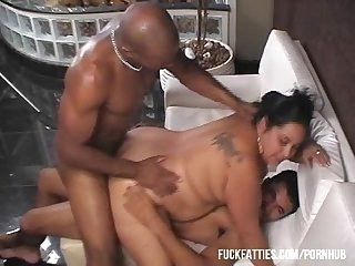 Hot bbw latina get Dp by two hot black stallions