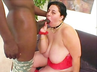 Fat hairy chick enjoys black cock