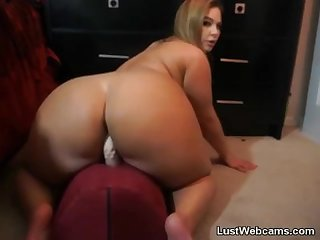 Chubby milf rides dildo on webcam