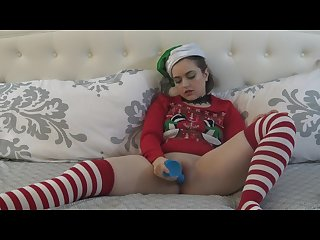 Christmas elf dildo masturbation