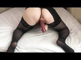 Food in pussy horny milf fucks herself with sausage