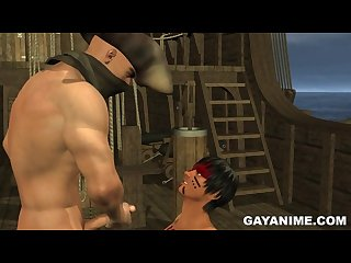 3D pirate sucking cock and getting fucked anally on a pirate ship