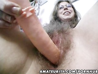 Hairy amateur wife toys and rides a cock with cumshot