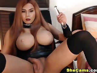 Huge tits shemale masturbates and fucks her ass