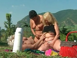 Bbw lesbian having outdoor fun