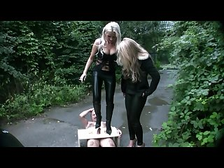 Young german mistresses humiliate customer outdoor cock crushing femdom