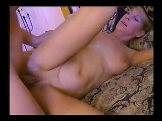 Blonde milf fucks younger cock and takes cum inside her ass