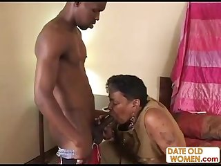 Black granny gets young cock