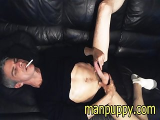 Smoking fetish masturbation with huge cumshot from dilf manpuppy