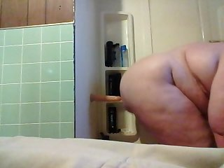 18 y o fat boy riding his dildo in the shower