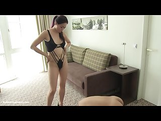 Asian Mistress slapping and ballbusting slave