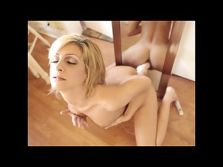 Cute blonde caprice shows her piercings before fucking her toy