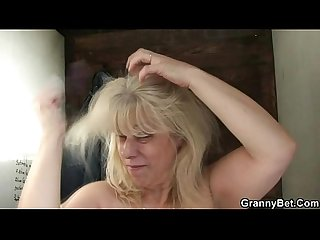 Blonde granny gets screwed by a stranger