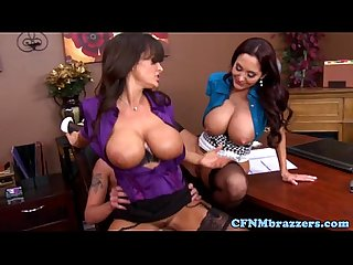 Cfnm milfs make new guy fuck in office