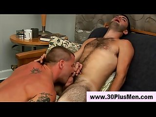 Hairy horny gay gets a mouthful