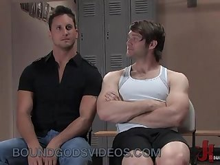 Two muscle gays bondage fuck in gym
