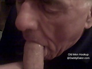 Grandpa silverdaddy swallows cum from uncut cock and licks my toes