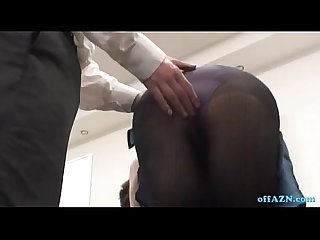 Busty office lady getting her tits rubbed fingered on the chair in the conferenc