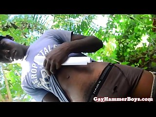 Ebony amateur Twink jerking off outdoors