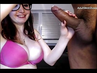 Playful redhead sucks on a black cock adultwebshows com