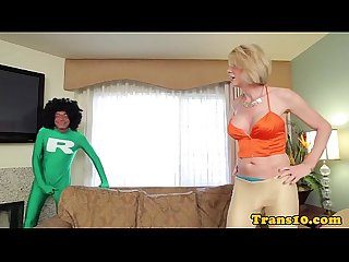 Mature tranny doggystyled by super dick