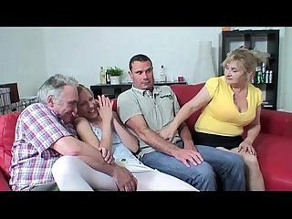 Foursome sex with busty granny