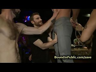 Baldheaded gay gangbang fucked in bar