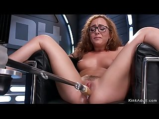 Curly brunette cumming on fucking machine