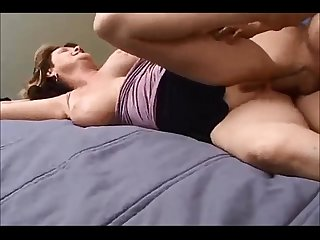 Amateur milf gets pussy and ass fucked by younger boy