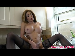 Busty Mature Ts wanking in The kitchen
