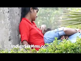 Desi babe offering her boobs as pillow to boyfriend caught in park new