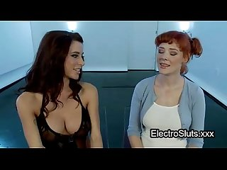 Bound redhead electro shocked and vibed
