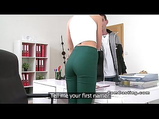 Limp cock guy fucks female agent beauty in Office