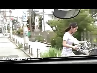 Japanese housewife fucked outside the house husband is inside