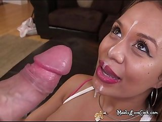 Sexy maid samantha bell gets poked and facialized