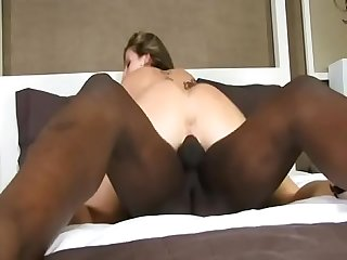 Big ass brunette milf sara jay gets hard fucked in bed by ebony dick