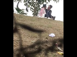 Indian lover kissing in park part 1