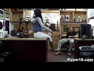 Beautiful ebony teen in pawn shop