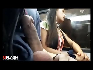 Dickflash in train while girl watches on